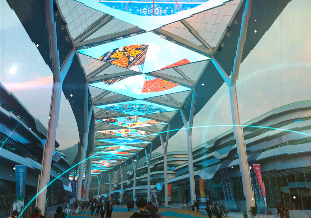 2017 Led Transparent Screen For Ceiling Decoration Of Astronomy Town In Guizhou China