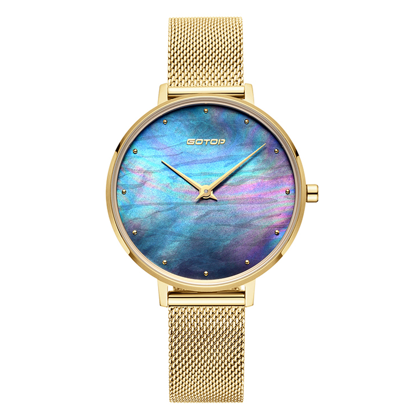 Gold Women's Watch With Mother Of Pearl Dial
