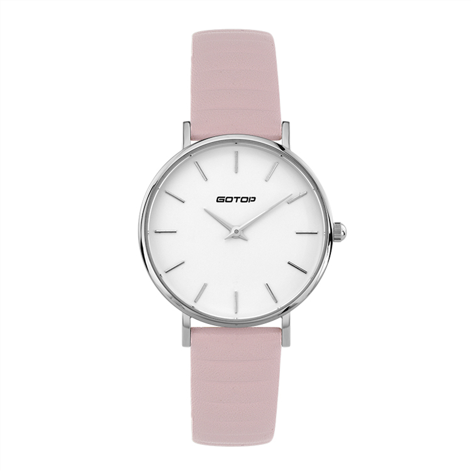 DW Style Silver And White Women's Watch With Pink Leather Strap