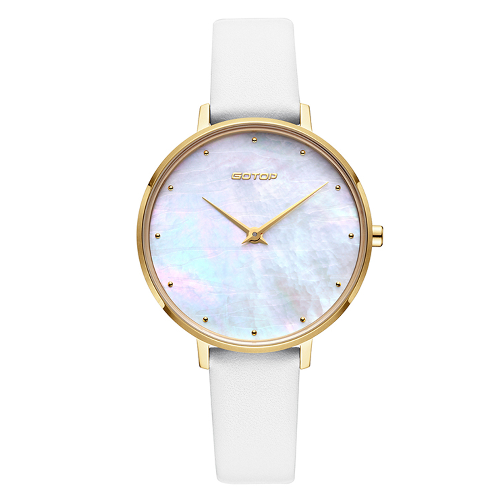 Gold And White Women's Watch With Mother Of Pearl Dial