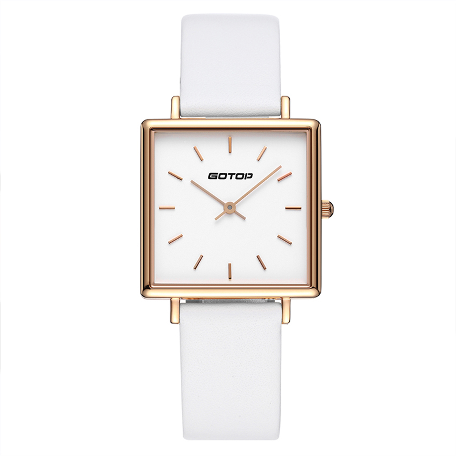 Square Rose Gold And White Women's Watch In Stainless Steel And Leather