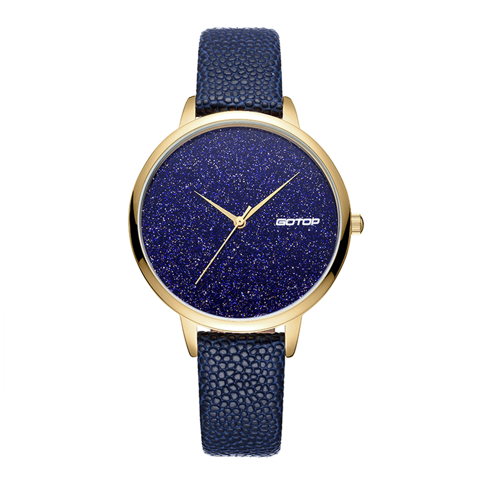 Blue And Gold Women's Watch With Leather Strap