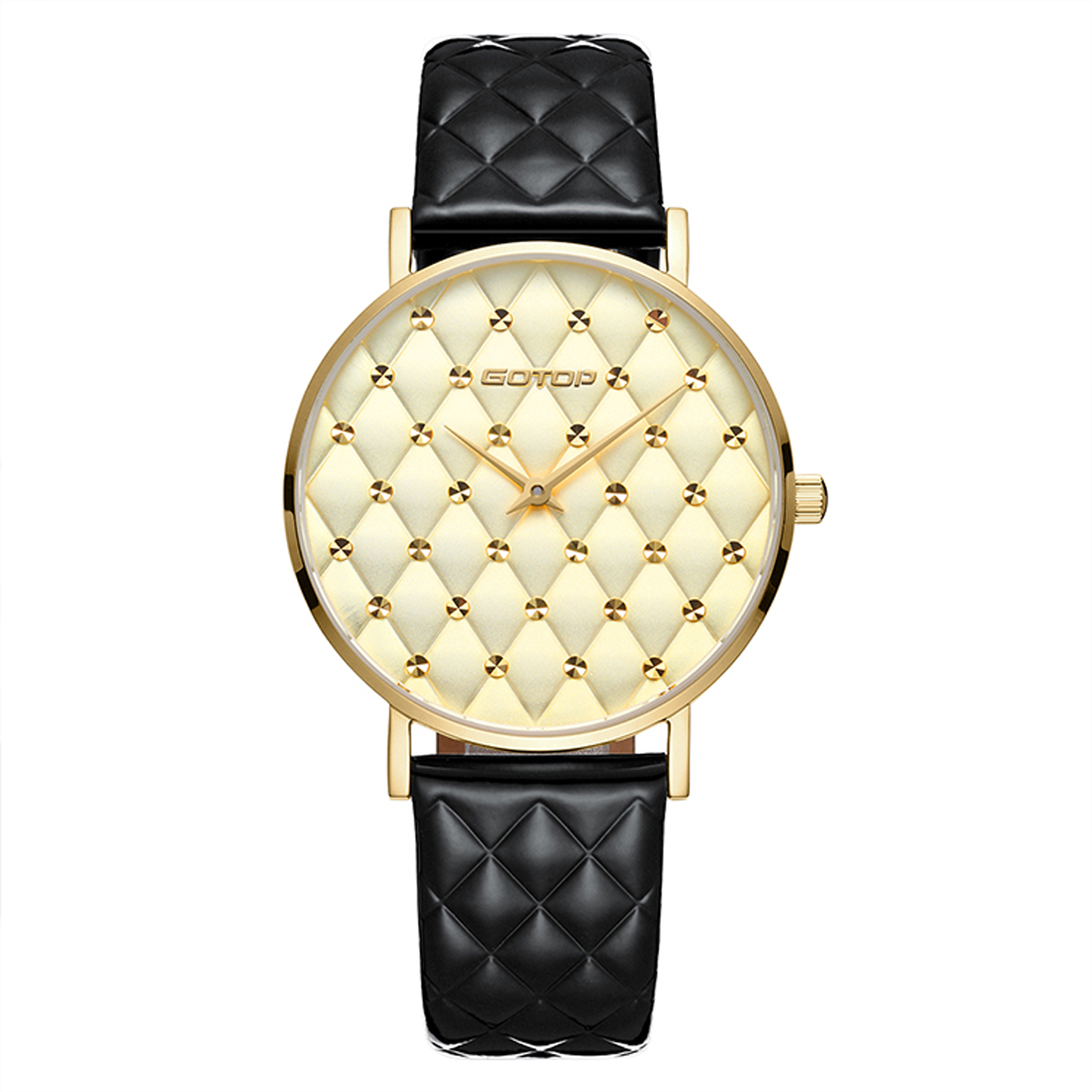 Black And Gold Quilt-Effect Women's Watch
