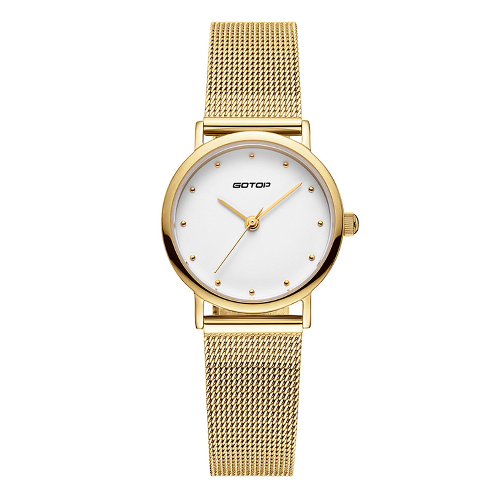 Pure White Face Women's Watch With Mesh Band