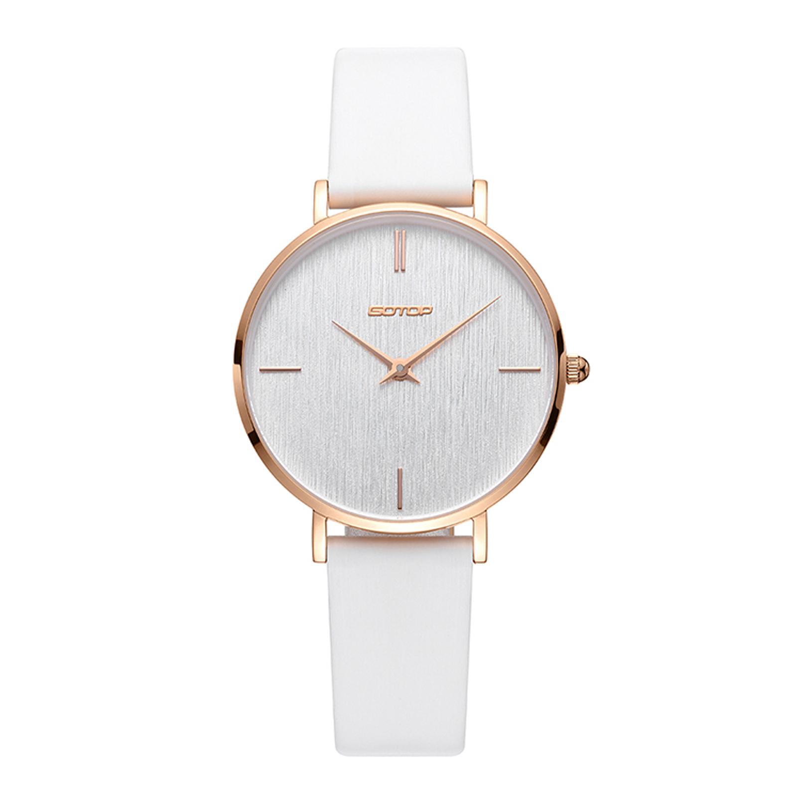 Rose Gold Women's Watch With Leather Strap
