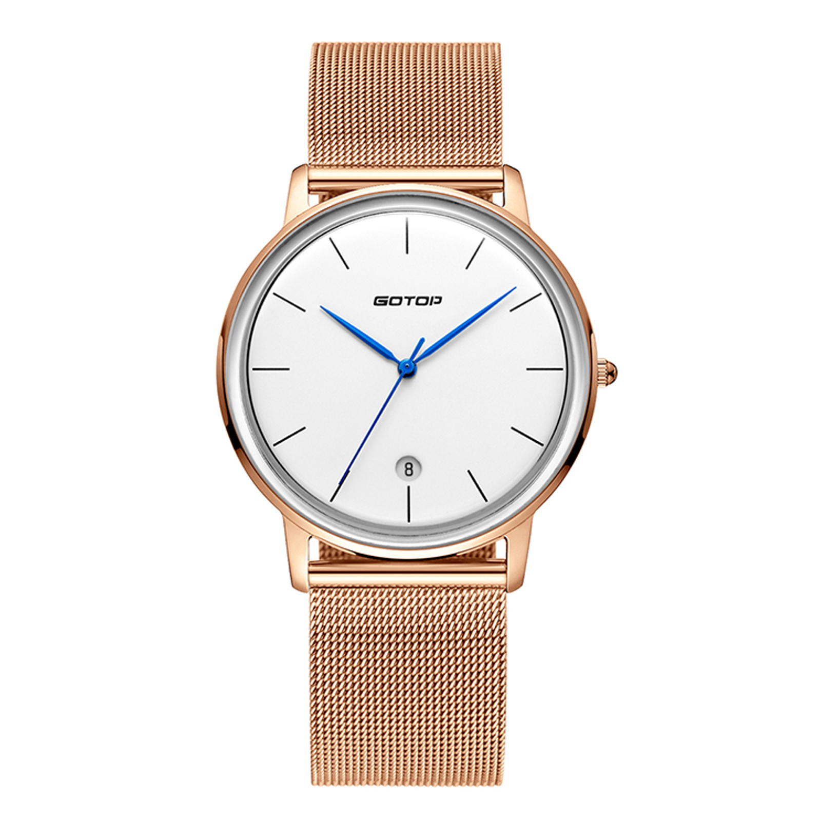 Gold Men's Watch With Metal Mesh Band