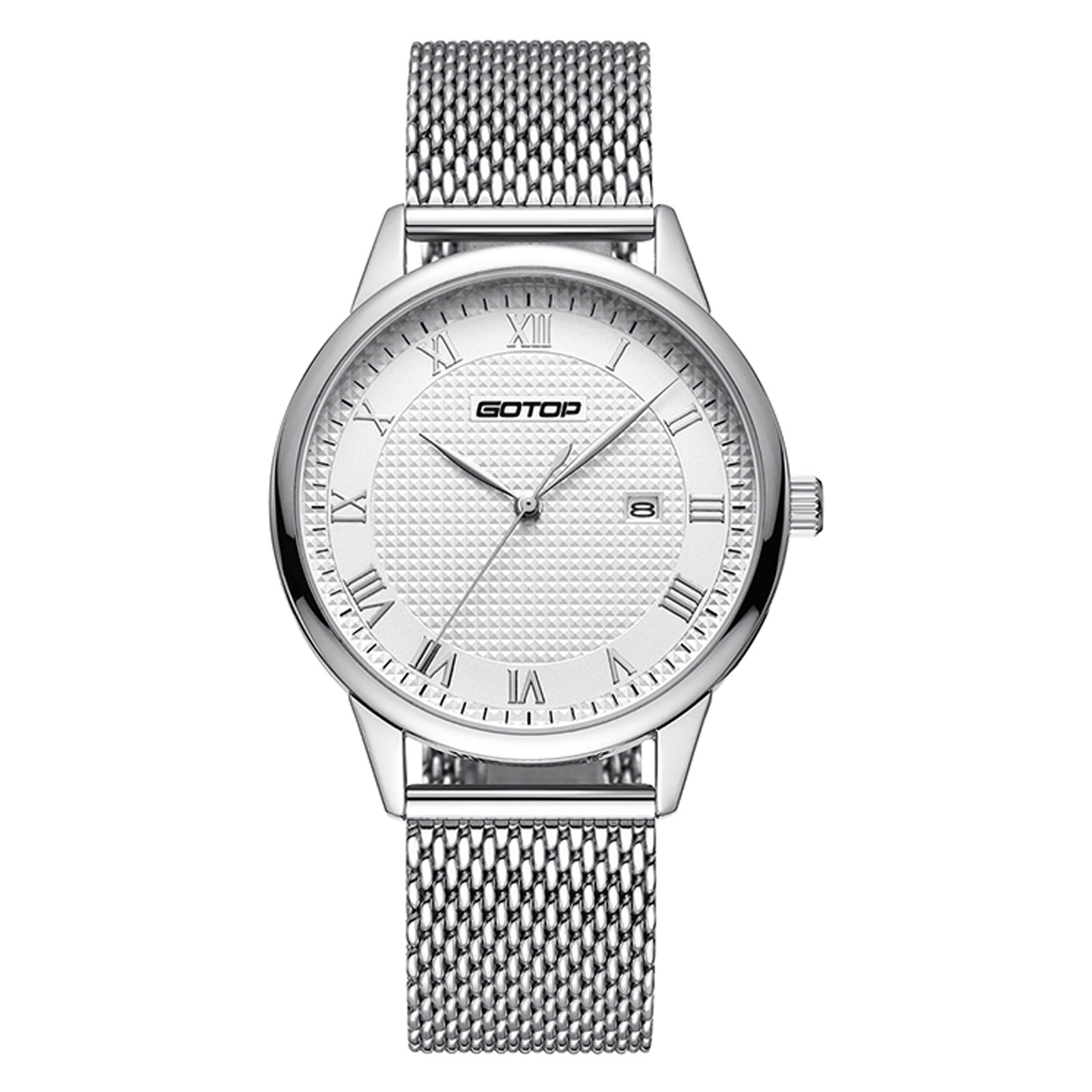 Silver And White Men's Watch With Roman Numera