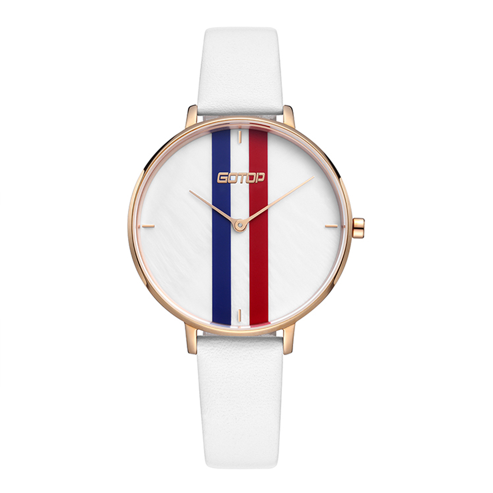 White Women's Watch With Leather Strap And Stripe Detail