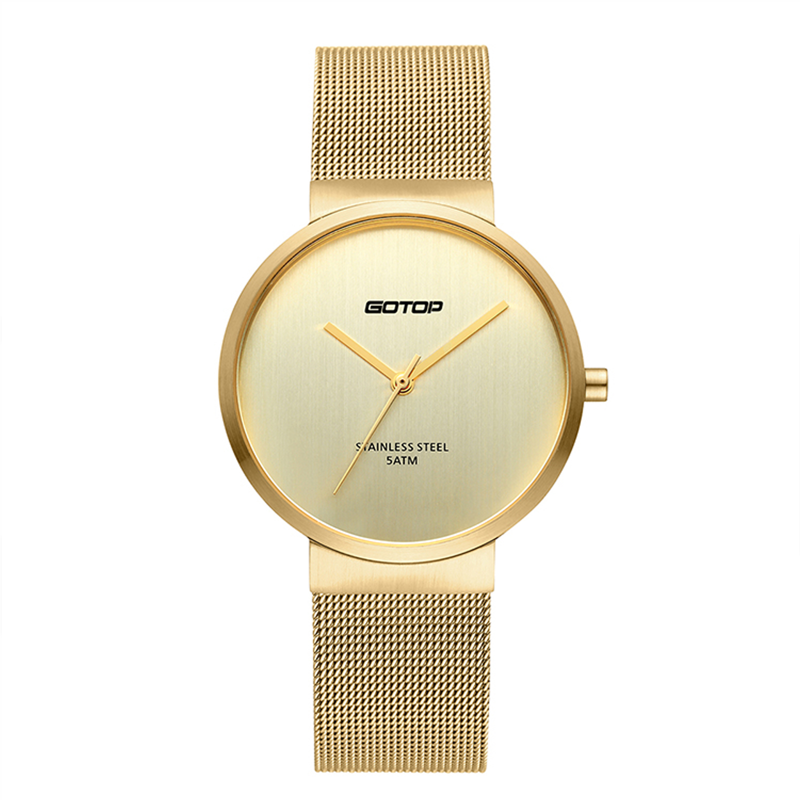 All Gold Women's Watch With Mesh Band And Slim Bezel