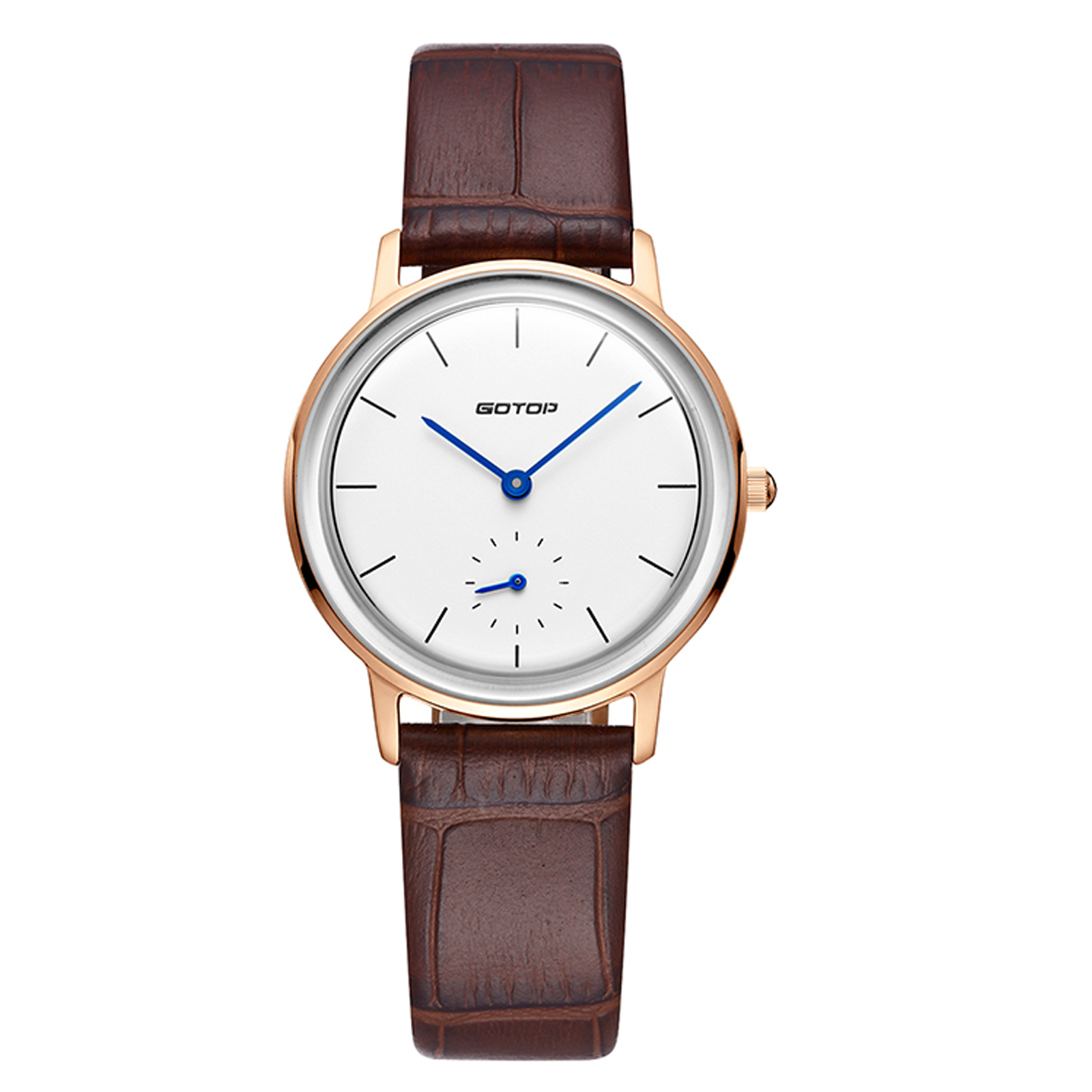 Men's Watch In Rose Gold With Brown Leather Strap