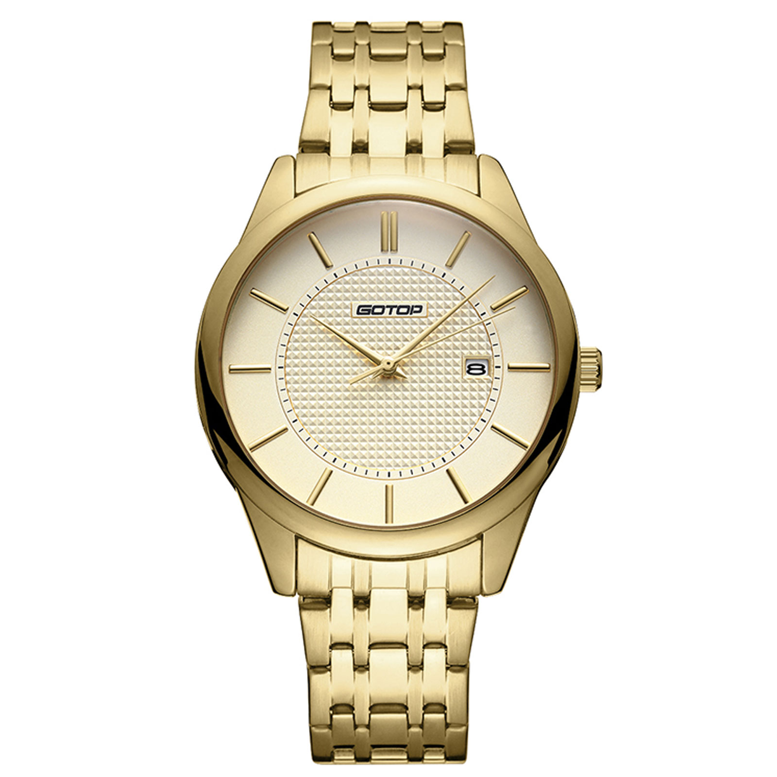 Gold Stainless-Steel Men's Watch With Metal Bracelet