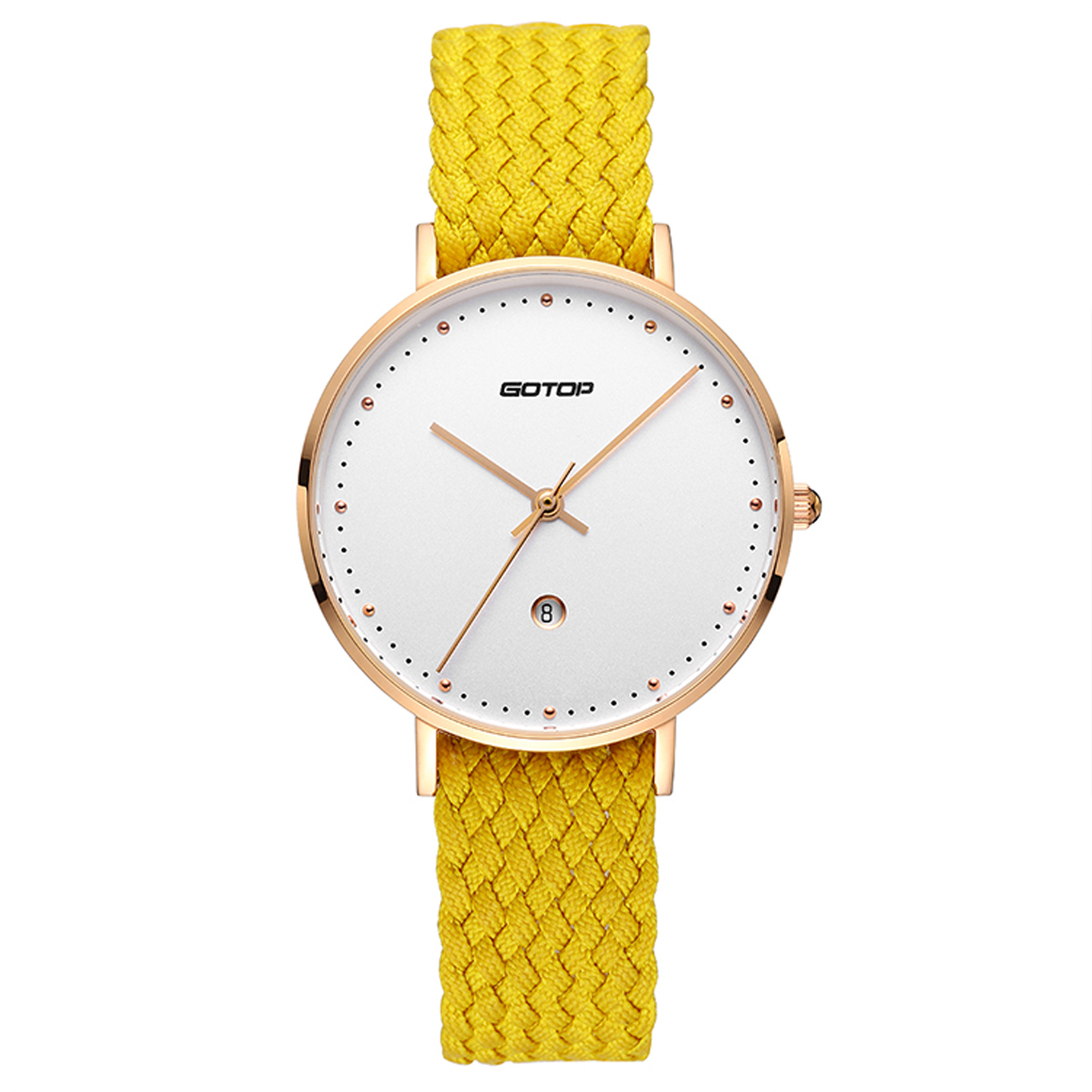Rose Gold Women's Watch With Yellow Strap
