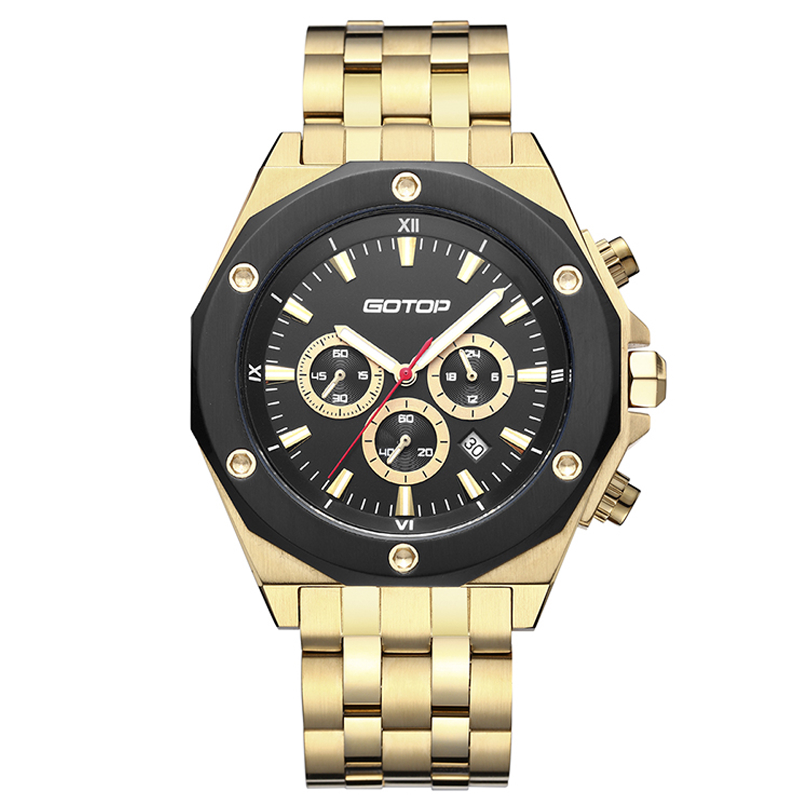 Gold And Black Men's Stainless Steel Watch
