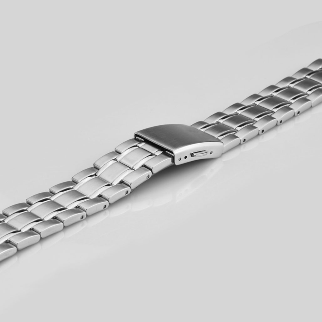 Stainless Steel Men's Watch Band In Silver