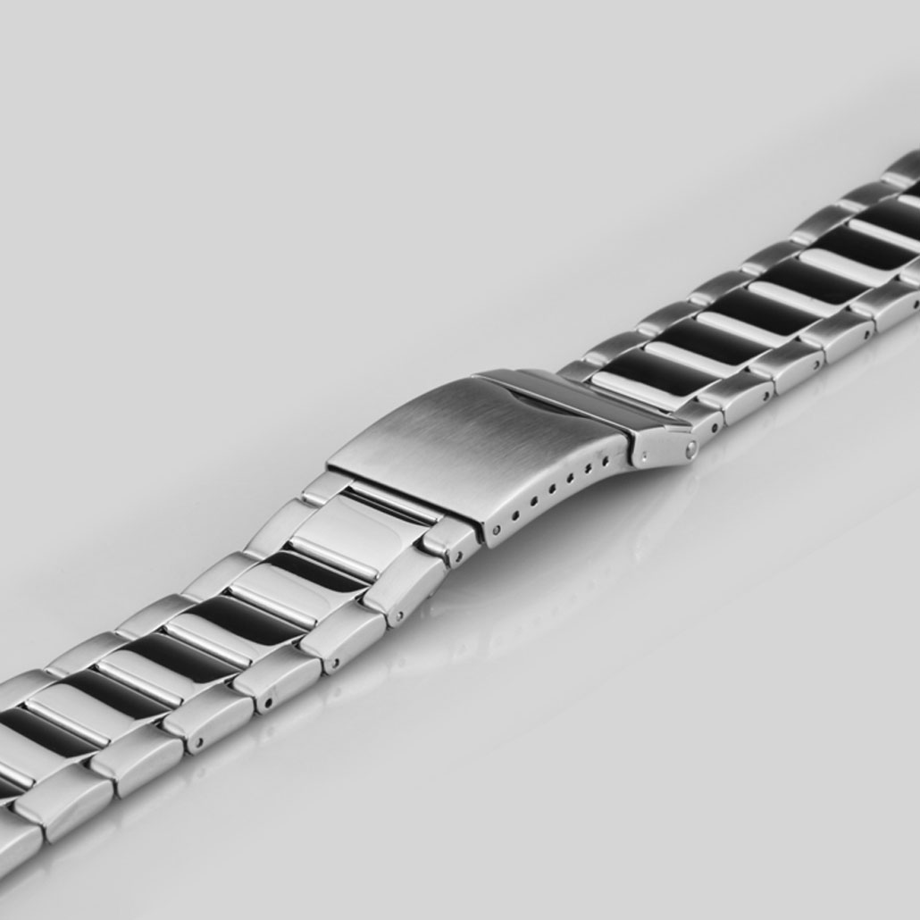 Polished Stainless Steel Men's Watch Bracelet