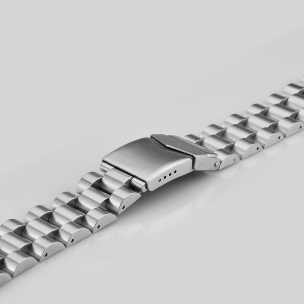 Silver Stainless Steel Watch Strap With Safety Buckle