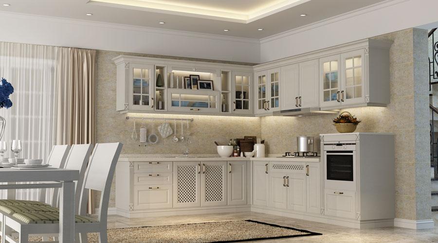 Beige Colour Kitchen Cabinets