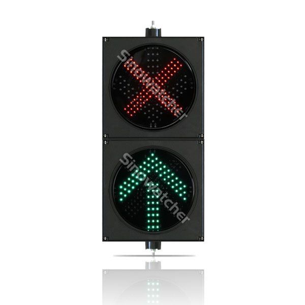 200mm/300mm Red Cross + Green Arrow Two Units Traffic Light