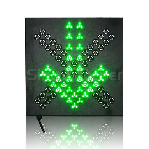 400mm Red Cross + Green Arrow LED Pixel Cluster Traffic Light