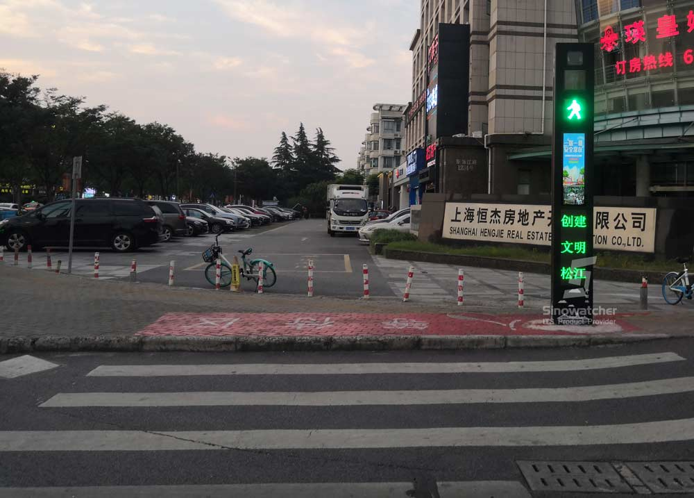 Tótem de advertencia de paso de peatones inteligente